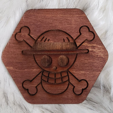 Wooden One Piece Coaster-Luffy - TantrumCollectibles.com
