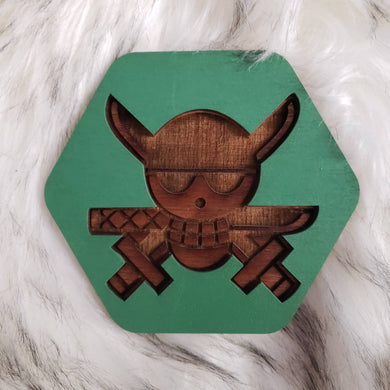 Wooden One Piece Coasters-Colored- Zoro - TantrumCollectibles.com