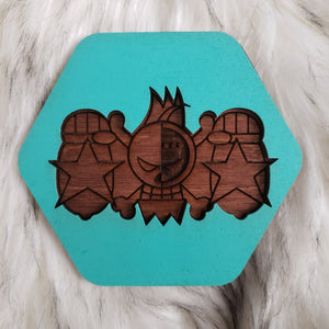 Wooden One Piece Coasters-Colored- Franky - TantrumCollectibles.com