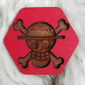 Wooden One Piece Coasters-Colored- Luffy - TantrumCollectibles.com