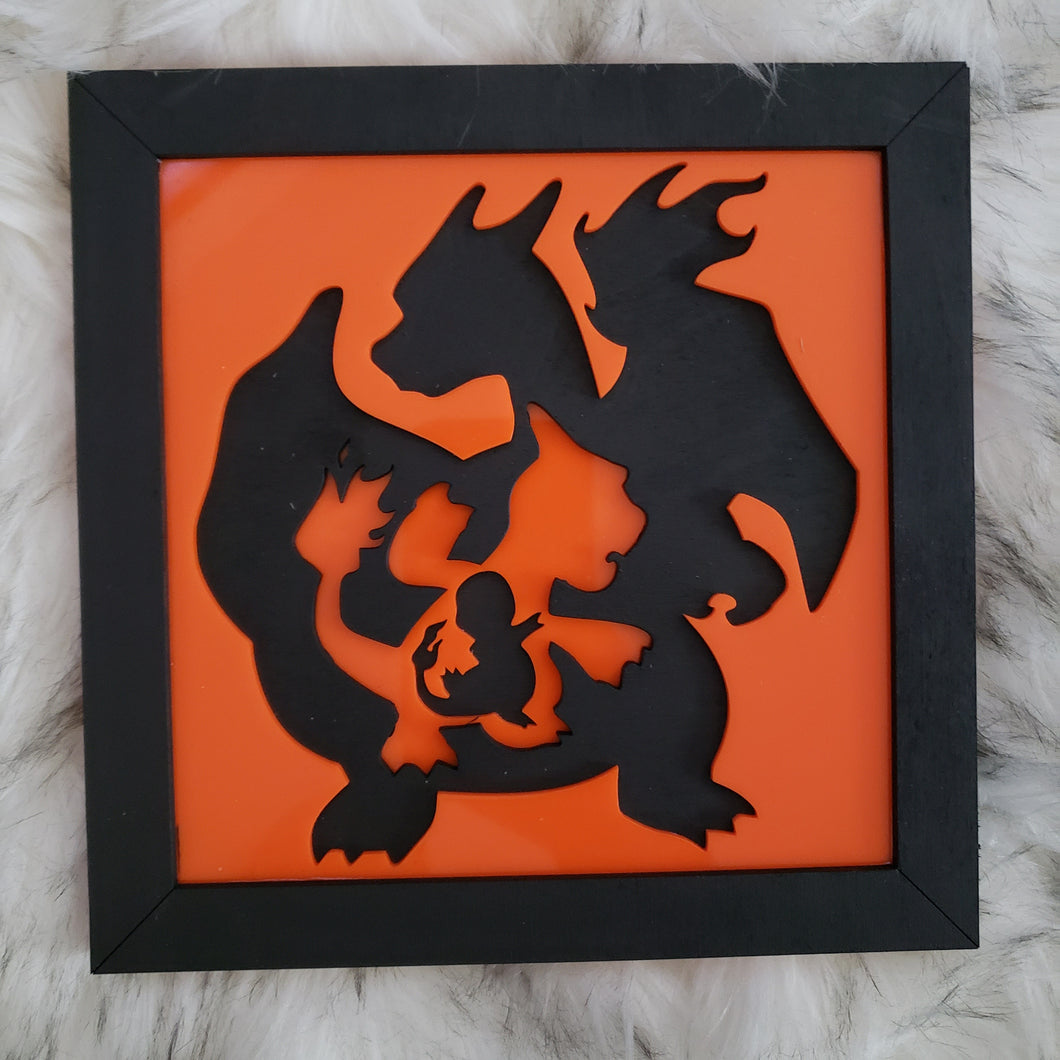 Pokemon Evolution 3D Wall Art (Charizard)