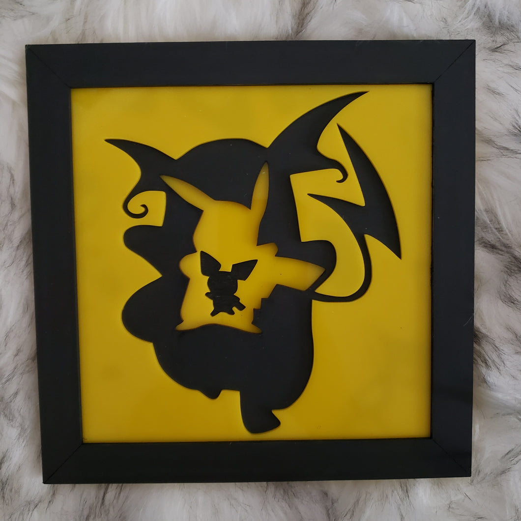 Pokemon Evolution 3D Wall Art (Pikachu)