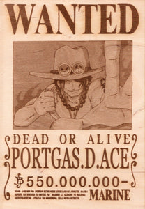 "One Piece: Wood Printed ""Wanted Poster""- Portgas. D. Ace"