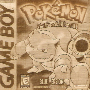 Pokemon -  Pokemon Blue Version Wooden Game Boy Cover Art
