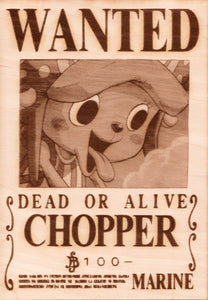 "One Piece: Wood Printed ""Wanted Poster""- Chopper"