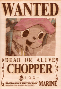 "One Piece: Color Shaded Wood Printed ""Wanted Poster""- Chopper"