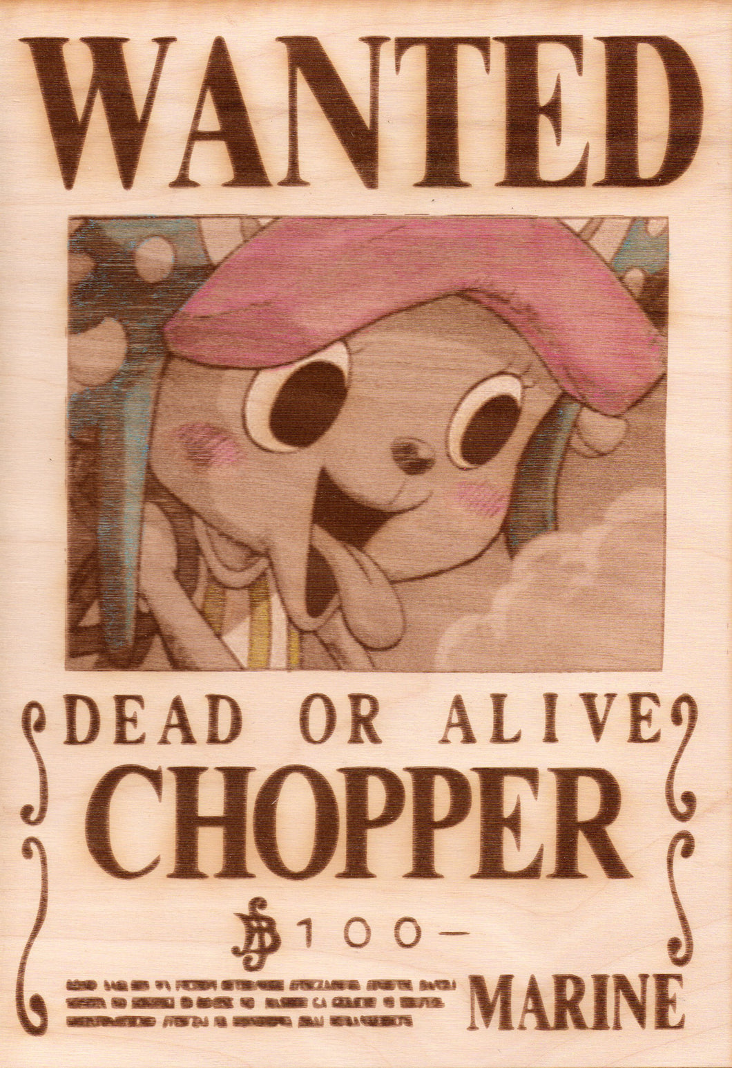 One Piece - Chopper Wooden Wanted Poster (Color) - TantrumCollectibles.com