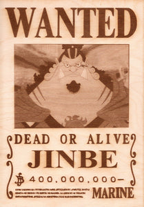 One Piece - Jinbe Wooden Wanted Poster - TantrumCollectibles.com