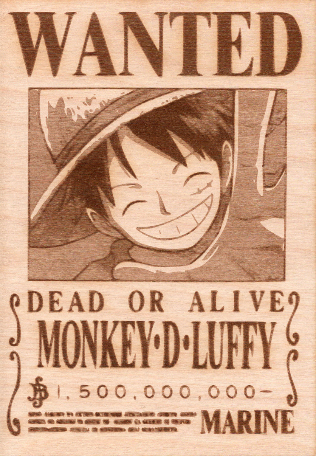 One Piece - Luffy Wooden Wanted Poster - TantrumCollectibles.com