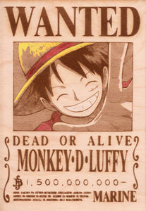 "One Piece: Color Shaded Wood Printed ""Wanted Poster""- Monkey D. Luffy"