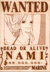 "One Piece: Wood Printed ""Wanted Poster""- Nami"