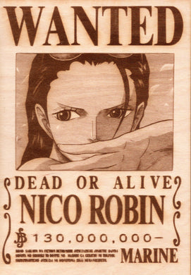 One Piece - Nico Robin Wooden Wanted Poster - TantrumCollectibles.com