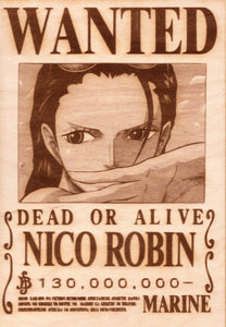 "One Piece: Wood Printed ""Wanted Poster""- Nico Robin"