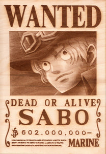 "One Piece: Wood Printed ""Wanted Poster""- Sabo"