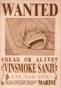 One Piece - Vinsmoke Sanji Wooden Wanted Poster - TantrumCollectibles.com