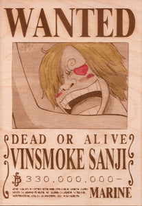 "One Piece: Color Shaded Wood Printed ""Wanted Poster""- Current Sanji"