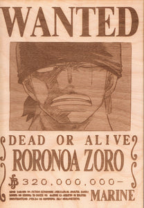 One Piece - Zoro Wooden Wanted Poster - TantrumCollectibles.com