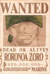 "One Piece: Color Shaded Wood Printed ""Wanted Poster""- Roronoa Zoro"