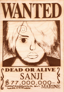 "One Piece: Wood Printed ""Wanted Poster""- Current Sanji"