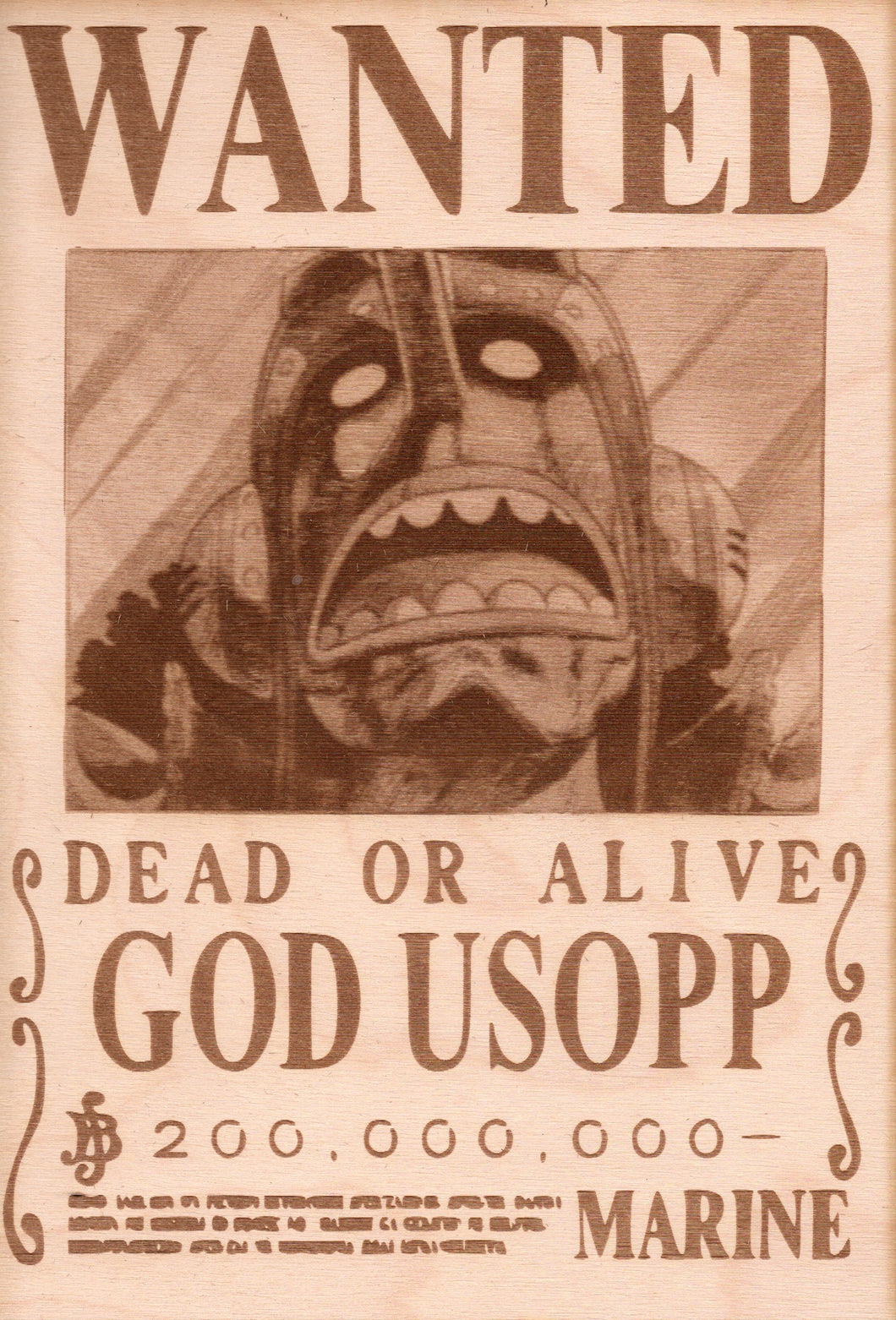 One Piece - God Usopp Wooden Wanted Poster - TantrumCollectibles.com