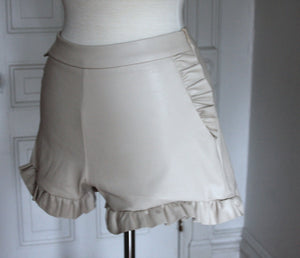 Faux Leather Ruffle Shorts - Cream