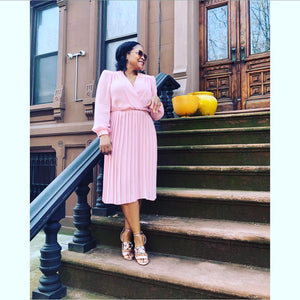 Vintage Pink Pleated Day Dress