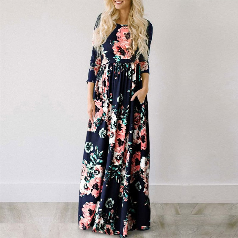 Women Summer Long Dress 2019 Floral Print Boho Beach Dress Ladies White Maxi Evening Party Dress Sundress Vestidos de festa 3XL