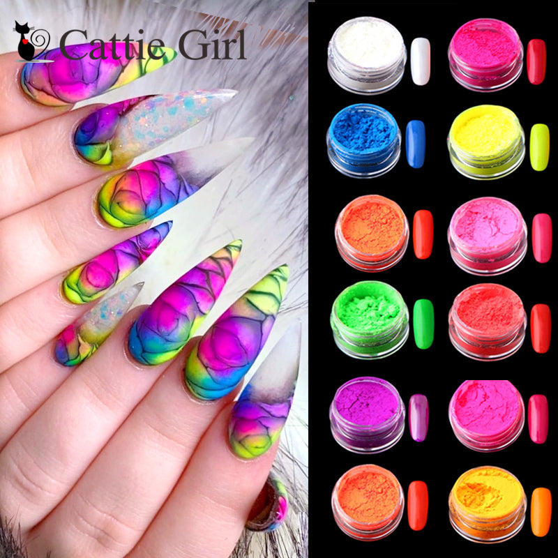 12colors/set Neon Pigment Nail Powder Dust  Glitter Gradient Nail Art Decoration