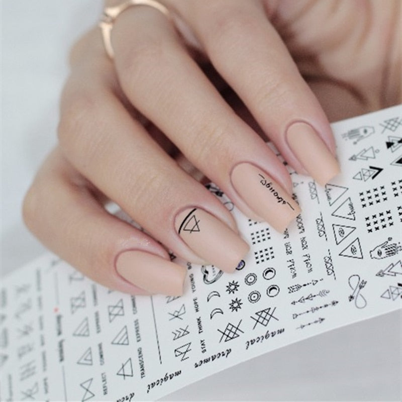 Geometric Nail Water Decals Line Dreamcacher Heart Moon Nail Disign Water Stickers