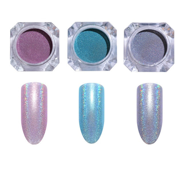 2pcs Holographic Nail Powder Nail Art Holo Acrylic Glitter Shimmer Dust Chrome Pigment DIY Manicure Nail Accessories Design