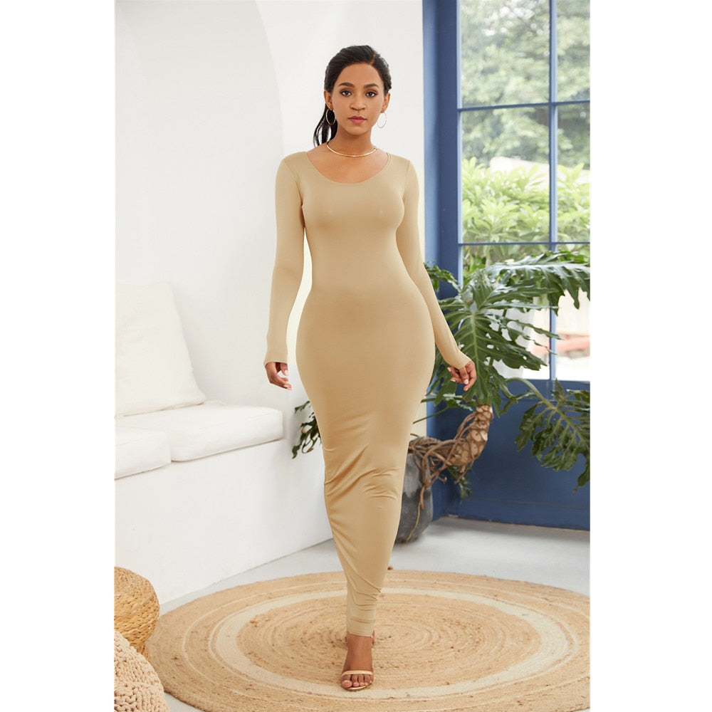 Spring Autumn Women New Long Sleeve O Neck Long Dress Hip Maxi Dress