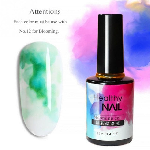 Fast Dry Nail ink smudge Liquid Professional  Blooming Gradient DIY Watercolor Smudge Bubble Ink Nail Art Nail Polish 15ml