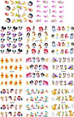 11sheet/lot Nail Stickers Disney Mickey Mouse Cartoon Princess Stickers for nails Water Transfer Sticker On Nail Decal ZJT0003