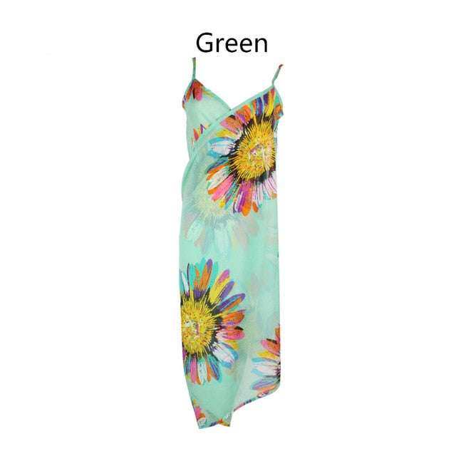 Bohemian Print Women Sexy Summer Hawaii Chiffon Wrap Floral Pareo Boho Dress Sarong Beach Bikini Swimwear Tunic Cover Up Scarf