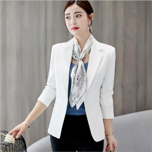 Black Women Blazer Formal Blazers Lady Office Work Suit Pockets Jackets Coat Slim Black Women Blazer Femme Jackets
