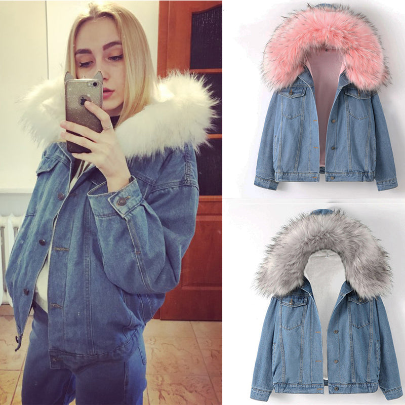 New Warm Winter Bomber Women Winter Autumn Hooded Girls Coat Jeans Denim Jackets Basic Ladies Top Windbreaker Female Large