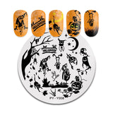 PICT YOU Halloween Nail Stamping Plates Pumpkin Flowers Animal Tropical Geometry Pattern Nail Art Image Lace Stamp Templates