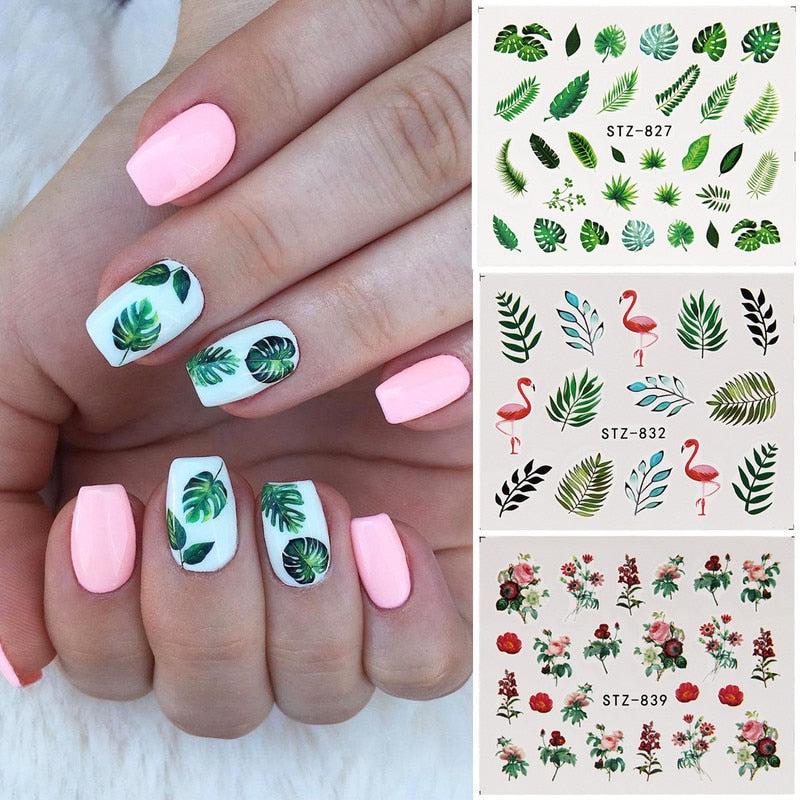 19 Designs Nail Stickers Green Leaf Flamingo Flowers Cactus Water Decals Nail Art Decorations