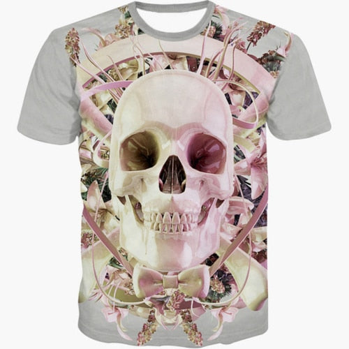 Cute Cartoon 3D Skull/Bambi Deer/Cat Mermaid Graphic Print  Tshirt