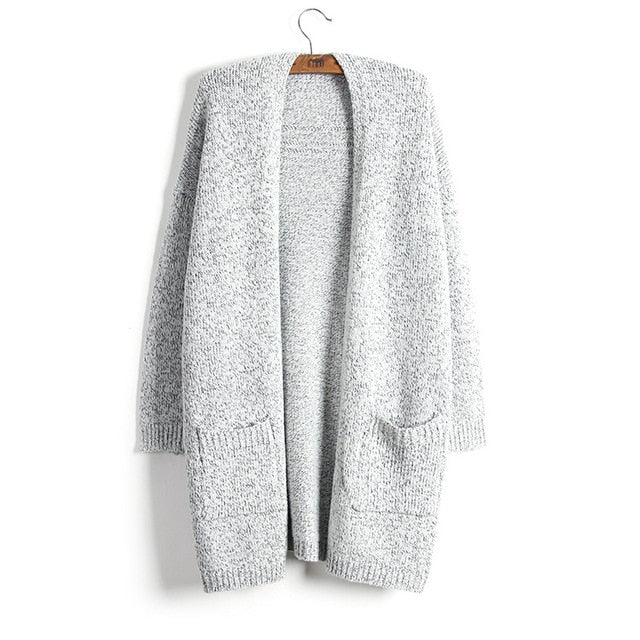 Autumn Winter Women Long Sleeve loose knitting soft pocket cardigan