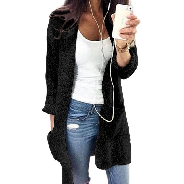 Autumn Winter Women Long Sleeve loose knitted cardigan pocket cardigan Womens