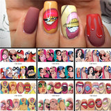 6 Designs in 1 Nail Sets Fashion Sticker Full Cover Lips Cute Printing Water Transfer Tips Nail Art