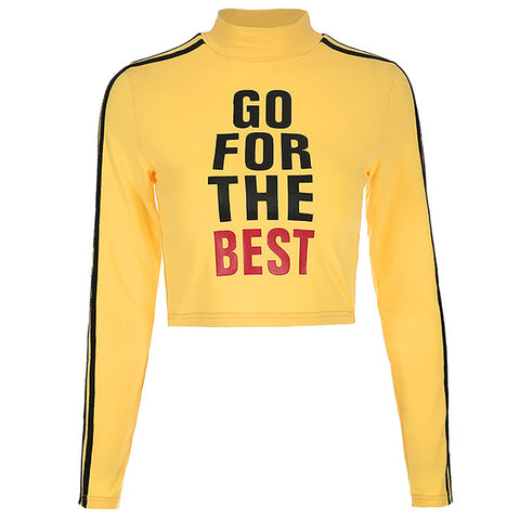 malianna Women Yellow Cropped Stripped Hoodies Cropped Long Sleeve Turtleneck Pullover Sweatshirt Fashion Streetwear Crop Top