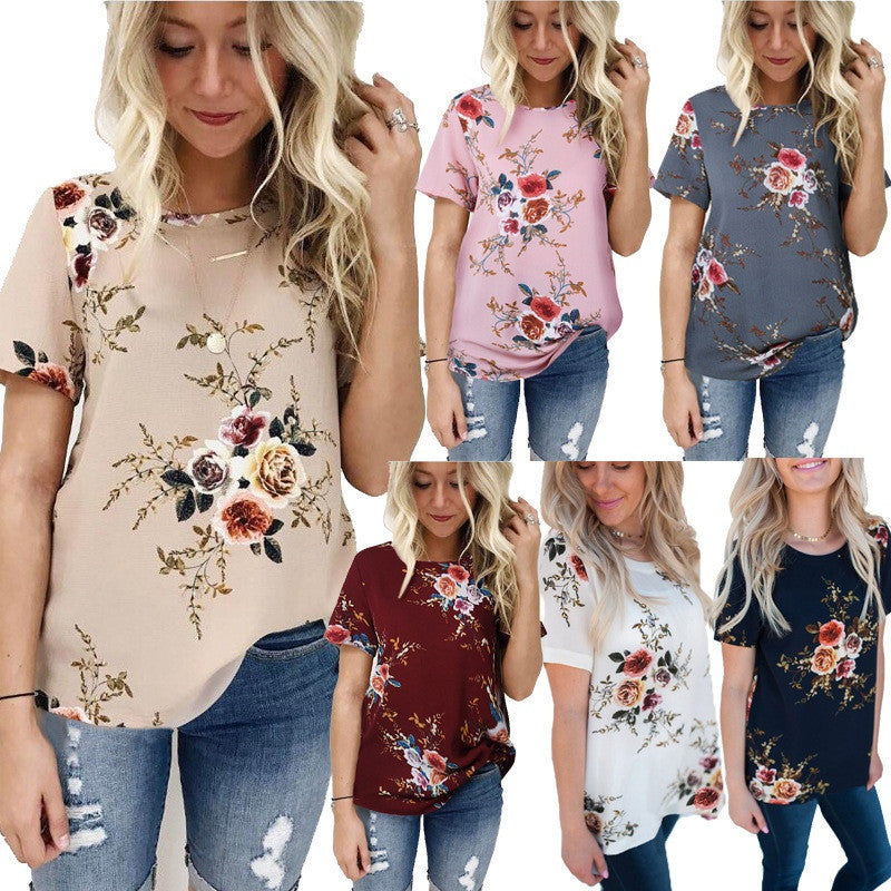 Summer Fashion Women Short Sleeve  Plus Size Floral T-shirts
