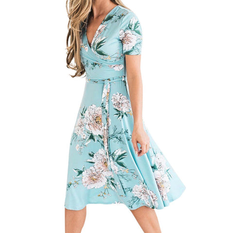 Women Summer Floral V Neck Boho Floral Mini Dress Beach Dress Sundress