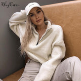 Hugcitar long sleeve zipper high neck Faux lambswool crop tops  autumn winter women fashion solid coat jacket