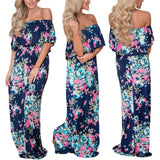 Women Summer Floral Print Off Shoulder Casual Maxi Dress Floral Dress