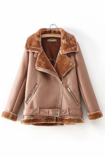 Warm women's winter motorcycle velvet jacket female short lapels fur thick Korean version plus velvet jacket bomber jacket