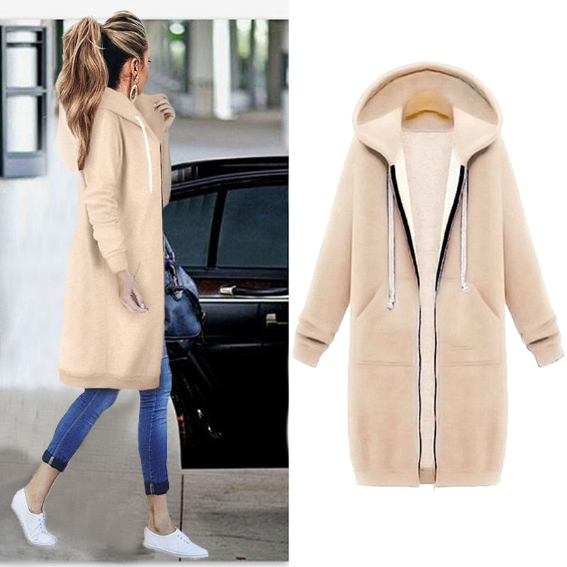 Women Warm Winter Fleece Hooded Parka Coat Overcoat Long Jacket Outwear Zipper outwear Female Hoodies S-5XL plus size sweatshirt