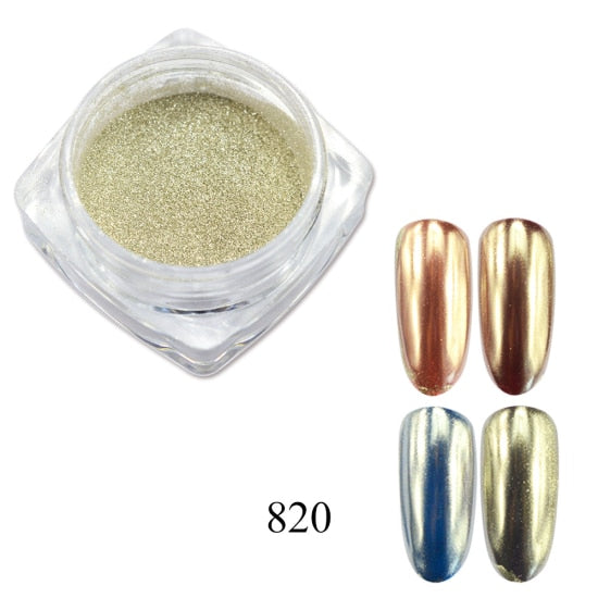 0.5g Nail Mirror Glitter Powder Metallic Color Nail Art UV Gel Polishing Chrome